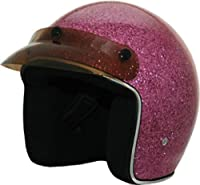 HCI Retro Pink Glitter Open Face Helmet with Visor ABS painted Shell 10-034