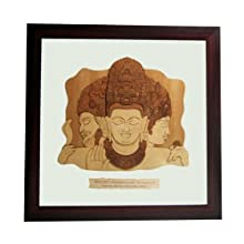 "The Bombay Store Wood & Glass Frame - Trimurti Elephanta L 10 "" H 10"