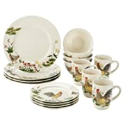 Paula Deen Dinnerware 16-Piece Stoneware Dinnerware Set, Southern Rooster
