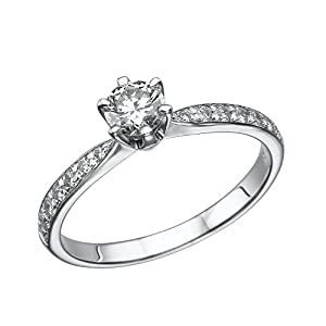 IGI Certified 14k white-gold Round Cut Diamond Engagement Ring (0.58 cttw, F Color, SI1 Clarity) - size 4