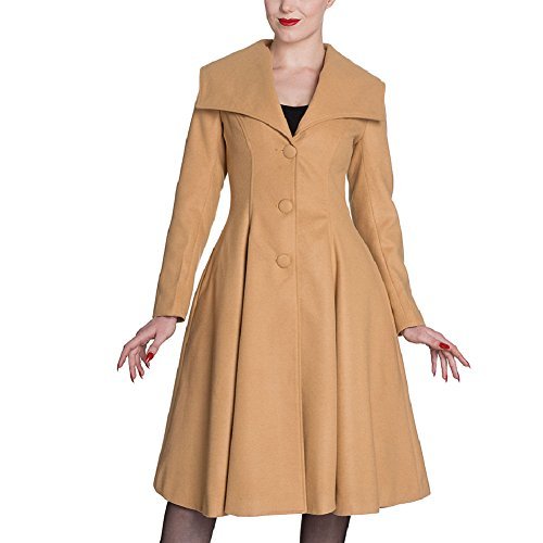 Hell Bunny Camel/Tan Vintage Winter Coleen Coat US 6/S