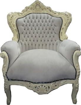 Baroque Armchair 'King' Creme / Cream Velvet