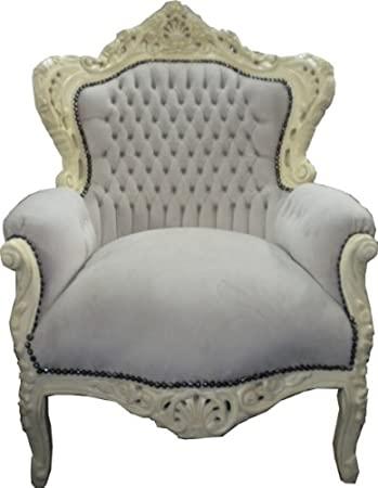 Baroque Armchair 'King' Creme / Cream Velvet