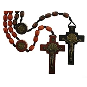 Set of 2 Rosaries - Brown Colored Wood Beads - St. Benedict Rosary with Immaculate Heart of Mary Center Piece - 24'' Necklace, 20'' Overall Length