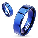 STR-0026 Blue IP Over Stainless Steel Beveled Edge Flat Band Ring; Comes With Free Gift Box (5)