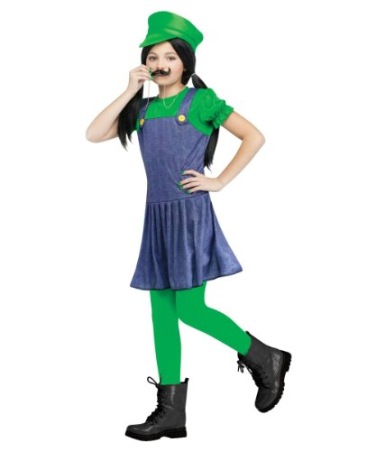 Super Mario Luigi Pretty Plumber Girls Costume