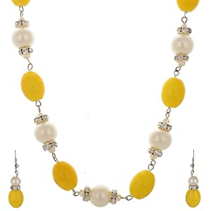 Freni Gold Pearl Chain Necklace set For Women available at Amazon for Rs.199