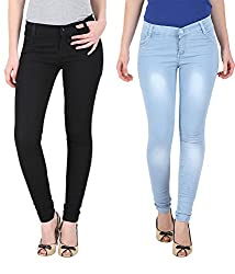 NGT Women's Black And Sky Blue Jeans