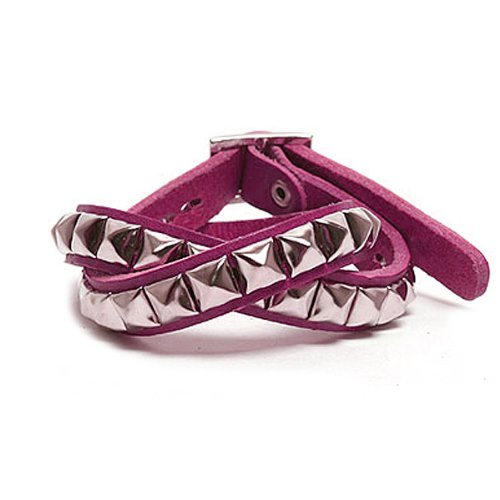 Square Stud 2 Layer Leather Bracelet - Pink