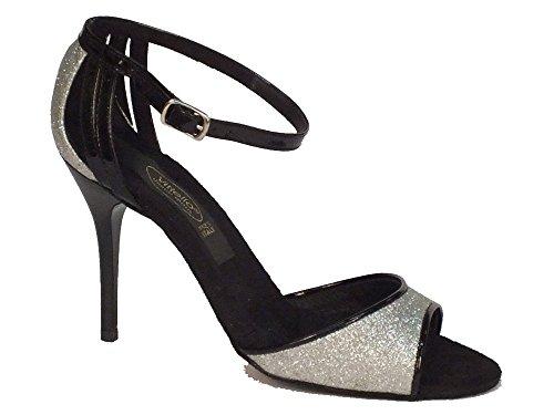 Scarpa da donna per ballo tango in cristal argento e cinturino vernice nero (Taglia 37)