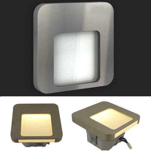 ledix led einbauleuchte moza edelstahl geb rstet 1er bis 9er set 230v treppenbeleuchtung ohne. Black Bedroom Furniture Sets. Home Design Ideas