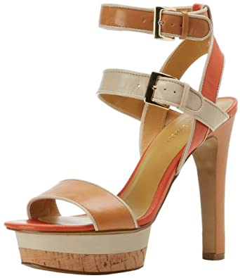 Nine West Women's Riskybiz Platform Sandal,Natural Multi Leather,5 M US