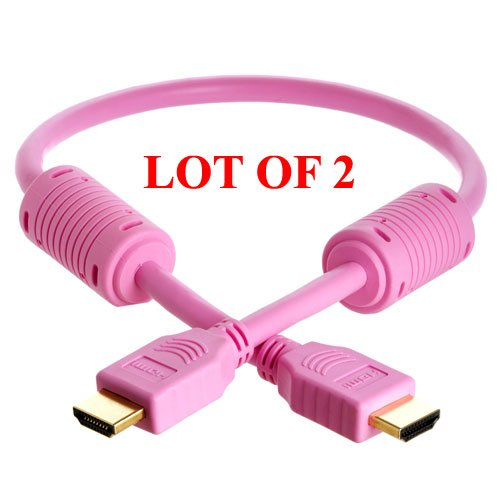 2-Pack 1.5-Ft Hdmi M/M Cable For Hdtv/Dvd Player Hd Lcd Tv(Pink)