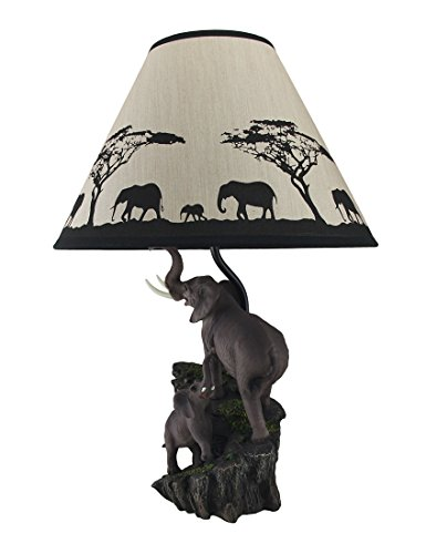 ... Elephants on Expedition Sculptural Table Lamp w/Decorative Shade, Grey