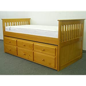 Captains Bed Twin with Twin Trundle and Drawers in Honey
