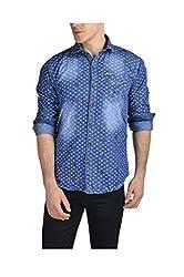 Anry Men's CasualShirts (BLU51023PRTD_Blue_M)