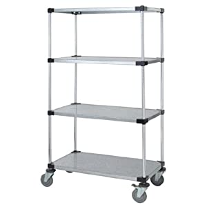 "Quantum Storage Systems M2460SG47 4-Tier Wire Shelving Mobile Cart with 5"" Stem Casters, 4 Solid Shelves, Chrome Finish, 24"" Wid at Sears.com"