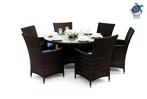 Reef Rattan Tobago 7 Pc Round Dining Set - Chocolate Rattan / Blue Cushions photo