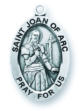 St. Joan of Arc Pendant Oval Sterling Silver with Chain