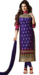 Limemode Women's Cotton Semi Stitched Dress Material (WASS000074_Blue _Fre...