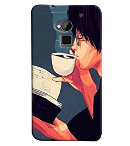 Blue Throat Boy Drinking Coffee Printed Designer Back Cover/ Case For HTC One Max