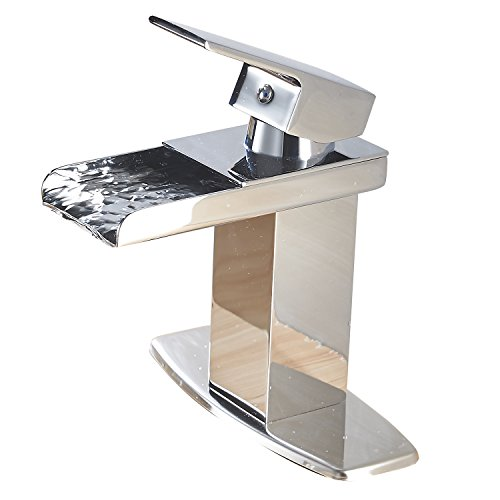 ... Modern Single Handle Waterfall Bathroom Sink Faucet (Chrome Finish