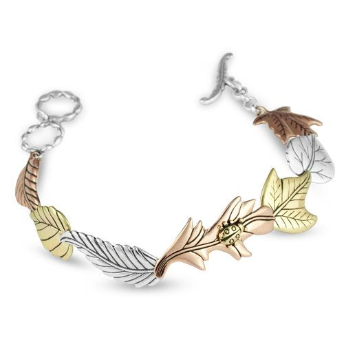 Carolyn pollack mixed metal acadia leaf toggle bracelet for Carolyn pollack jewelry qvc