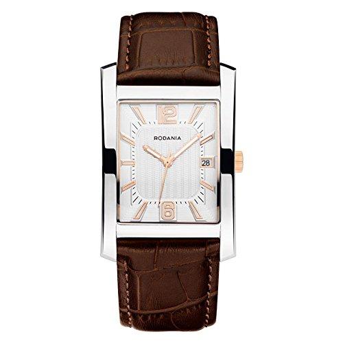 Rodania 26003-23 - Reloj para hombres, correa de cuero color marrón