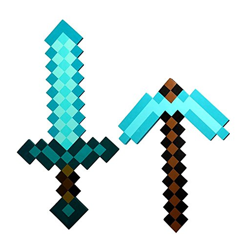 Minecraft EXCLUSIVE Pixel Foam Diamond SWORD & Diamond PICKAXE (Minecraft Costumes Kids)