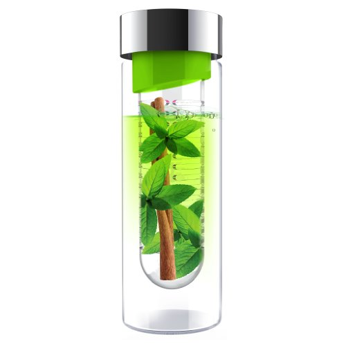 AdNArt Flavour It Glass Water Bottle with Fruit Infuser, Lime/Silver