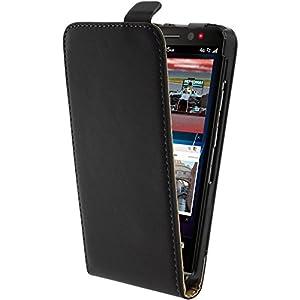 Kunstlederhülle für BlackBerry Z30 - Flipcase schwarz - Cover PhoneNatic Schutzhülle + Schutzfolien