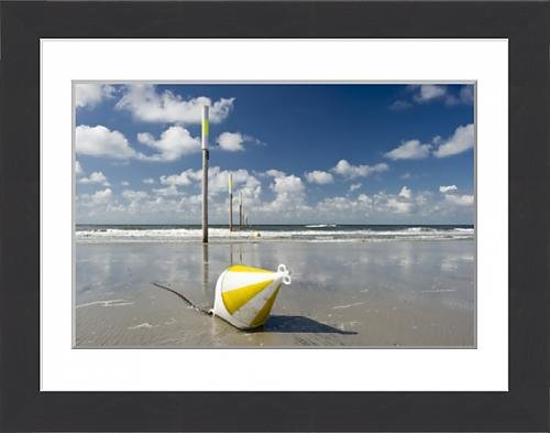framed-print-of-beach-marker-posts-and-a-buoy-st-peter-ording-schleswig-holstein-germany