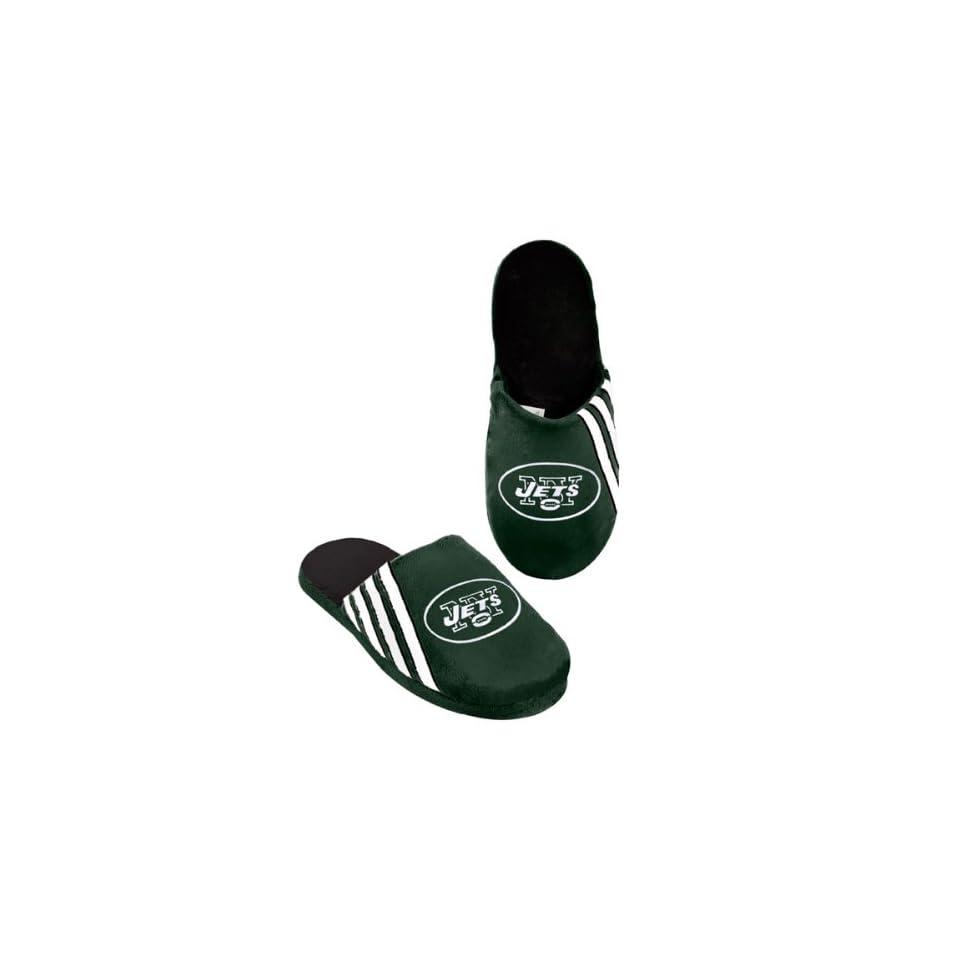 NFL New York Jets 2012 Football Team Big Logo Stripe Slippers (Medium 9 10)