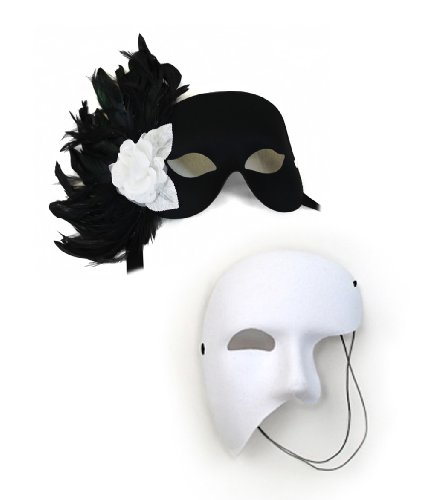 Rose Garden Black-White Masquerade Masks for a Couple
