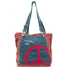 Peace and Love Fuscia Green Polka Dot Quilt Denim Shoulder Handbag Bag Purse