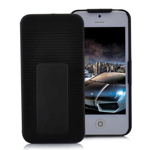 Best  Premium Black Holster Hard Case For th NEW Apple iPhone 5 With Locking Belt Swivel Clip (Verizon, AT&T, Sprint) - 2 Piece Case