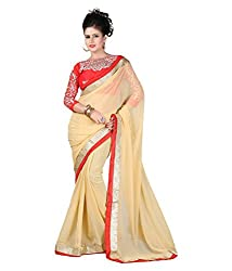 Madhav Fashion Designer House Fashionable Cream Chiffon Saree