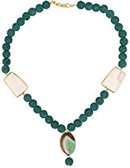 Stylepotion Ethnic Green Lava Beads Chalcedony Quartz Drop Chain Necklace For Women(SN10003)