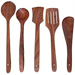 Onlineshoppee Antique Wooden Handmade Cooking Spoon Set This spoon set is made from high quality wood. It contains 5 Cooking Spoons,which can be used for different purposes.Wooden Handmade Antique Cooking Spoon Set