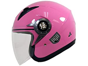 PGR Jet Pilot Open Face Motorcycle DOT APPROVED Helmet JE02 (X Large, Pink)