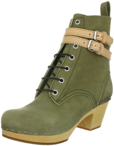 Swedish Hasbeens Combat Boot 855, Stivali donna, Verde (Grün (Military green nubuck)), 36