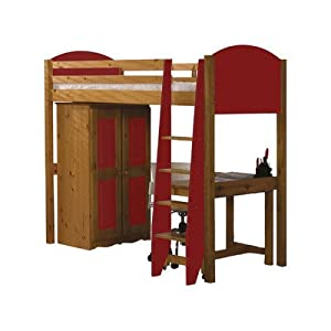 Single High Sleeper Bunk Bed Pieces Included: Bed Frame / Tall Boy / 7 Drawer Chest, Finish: Red