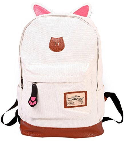 shot-in Girl Cute Canvas Cat Ear Backpack School Campus Bag Travel Rucksack Outdoor (white)