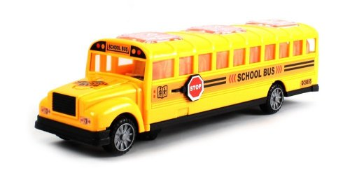 Deluxe Children's School Bus Battery Operated Bump & Go Toy Bus w/ Fun Sounds, Flashing Lights, Music by Velocity Toys - 1