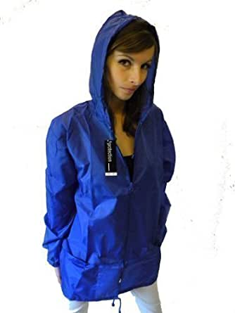 Campbell Cooper New Raincoat Mac Kagoule Jacket Hooded - Royal Blue - Small