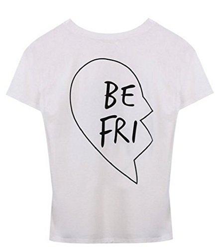 Qissy®Di estate modo Best Friends casuale camicia a maniche corte in pizzo T-shirt Ragazza modello manica corta con stampa floreale T (M, Bianco-BE)