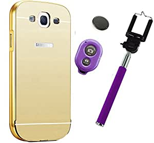 Novo Style Back Cover Case with Bumper Frame Case for Samsung Galaxy J2 2016 Golden + Selfie Stick with Adjustable Phone Holder and Bluetooth Wireless Remote Shutter