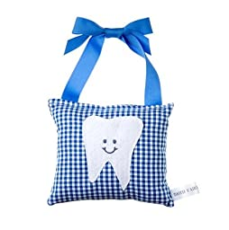 Boy\'s Tooth Fairy Pillow in Royal Blue Gingham Print Cotton