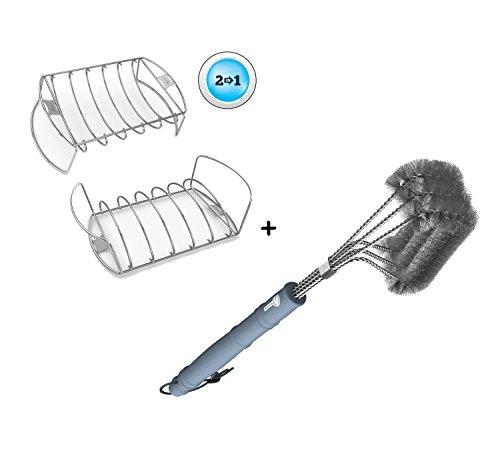 Rib Roast Rack + BBQ Grill Brush - ONLY 100% RUST PROOF DESIGN - Stainless Steel Wire Bristle with Strength Clip for Cleaning Char Broil Weber Porcelain and Infrared Barbecue Grates - 18