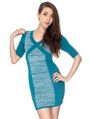 Simplicity Soft Sweater Style Dress In Two Tones W/ Back Design, Teal front-832571